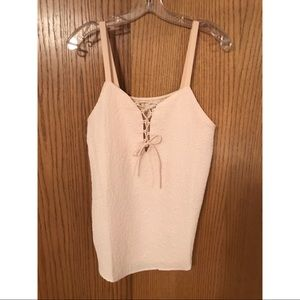 Cream Lace-up Tank Top